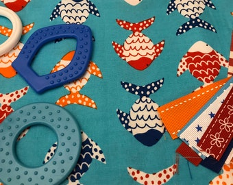 TaGGiE bLaNkEt KiT // Lovey Tag Blanket // Minky Cuddle Toy // Security Blanket // Baby Basket Gift Idea For Baby Shower // Fish