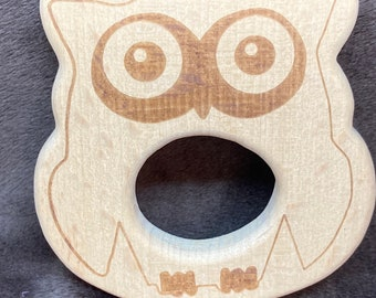 OWL engraved hooty Halloween Wood Shape / Wood Animal Shapes / Wooden Teether // Wooden Animal Toys // Wood Baby Shapes // Eco Friendly