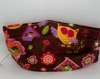 Sale Owl Lovers Fabric Face Mask // Give A Hoot Mask // ReAdY 2 sHiP //  Owls