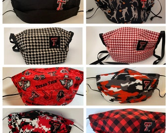 Fabric Face Mask Texas Tech / Fabric Mask Red Raiders TTU Mask / HoUnDsToOtH /CaMoUfLaGe / BuFFaLo ChEcK / TeCh / BlAcKoUt / 16 Styles