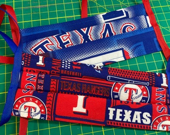 Texas Rangers MLB Baseball Face Mask // Fabric Face Mask // 3 Layers with ribbon ties // Washable Reusable // Set of 2 masks