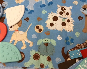 TaGGiE bLaNkEt KiT // Lovey Tag Blanket // Minky Cuddle Toy // Security Blanket // Baby Basket Gift Idea For Baby Shower // Blue Dogs