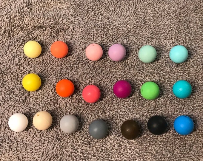 15 mm ROUND Silicone Teething Beads // Teething Beads // Sensory Beads // BPA Free Food Grade Silicone // You Choose Color and Quantity