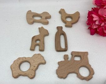 FARM Farming Beech Wood Shape Sampler // Wooden Shapes // Wood Animal Shapes //TrAcToR ShEEp AlPaCa ChIcKeN MiLk PuPPy DoG
