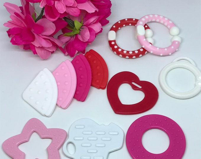 Featured listing image: Valentines for Baby Sampler Special //  Baby Teething // Silicone Teether // Silicone Baby Toys // Toy Making // Handmade // Teething Toy