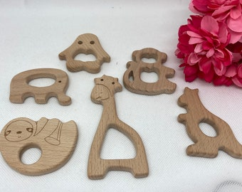 VISIT the ZOO Beech Wood Shape Sampler // Wooden Shapes // eLePhAnT V2 MoNkEy GiRaFFe SlOtH PeNgUiN KaNgArOO