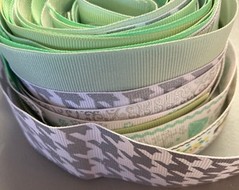 GREEN  & SILVER GROSGRAIN Ribbon Lot for Crafts Toys Hair Bow Hobbies Sewing // sizes 5/8 7/8 1 1 1/2 2 inch wide