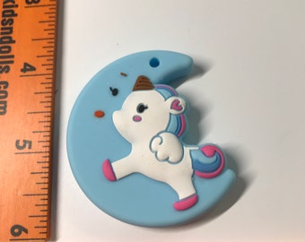 Unicorn Moon Pendant Set // Sample Sale // Silicone Teether Pendant // Handmade Baby // Teething Toys Chew // Food Grade Silicone / BPA Free