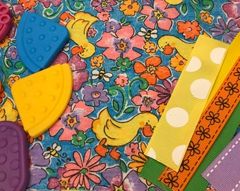 Taggie Blanket Kit // Lovey Tag Blanket // Minky Cuddle Toy // Security Blanket // Easter Basket Gift Idea For Baby Shower // Floral Duck