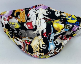 Dog Themed Fabric Face Mask //Puppy Dog Novelty Mask // ReAdY 2 sHiP //  Dog Lover // Green Dog // Dogs //  ~~ A Dogs Life ~~