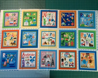 Retired HTF Panel Fabric What A World Set of 15 Blocks Bright Colorful Fabric For DIY Crafts Baby Block Quilt Quiet Book Travel