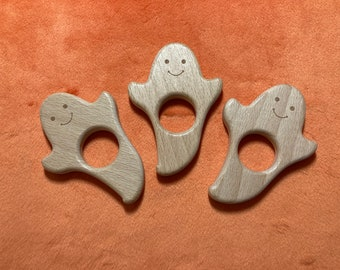 friendly GHOST <46> Halloween Wood Shape / Wood Animal Shapes / Wooden Teether // Beech Wood Baby Shapes // Eco Friendly