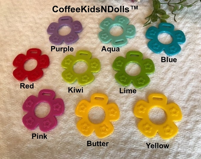 Silicone FLOWER Singles // Stroller Toy // Teether // Sew In Toy // Hanging Toy // Baby Toy // Baby Chew // Sewing // Handmade / Blanket