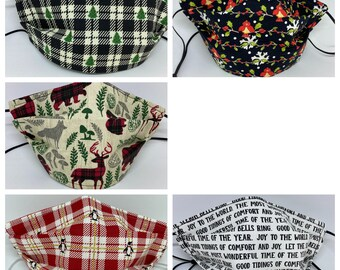 HOLIDAY Christmas Fabric Face Mask // Limited Edition // ReAdY 2 sHiP //  Novelty / Nordic / Penguins / Cardinals / Trees / Xmas Words