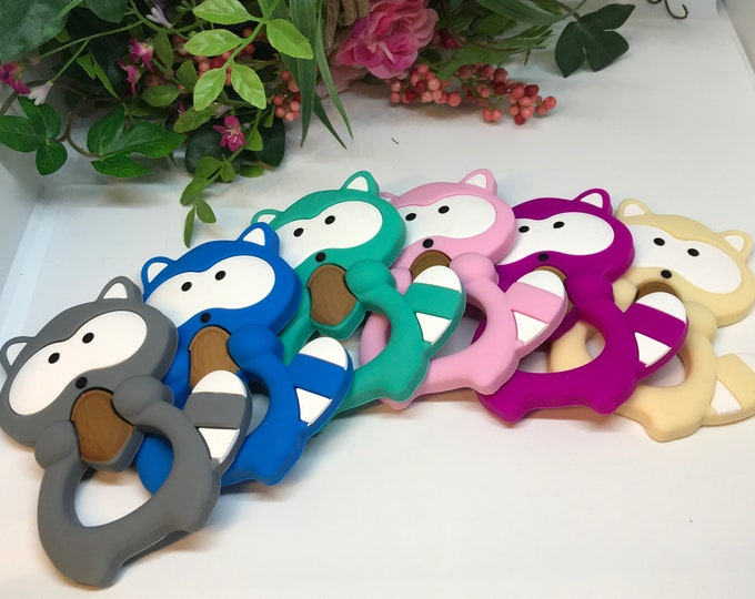 Raccoon Teether // Silicone Teether Pendant // Handmade Baby // Teething Toys Chew // Food Grade Silicone // BPA Free // Tan or Gray