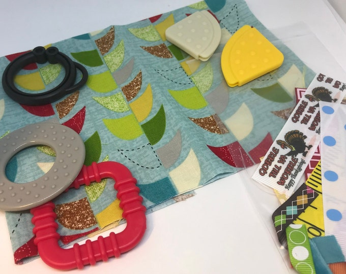 Taggie Blanket Kit // Lovey Tag Blanket // Minky Cuddle Toy // Security Blanket // Handmade // Christmas Baby Gift / Mod