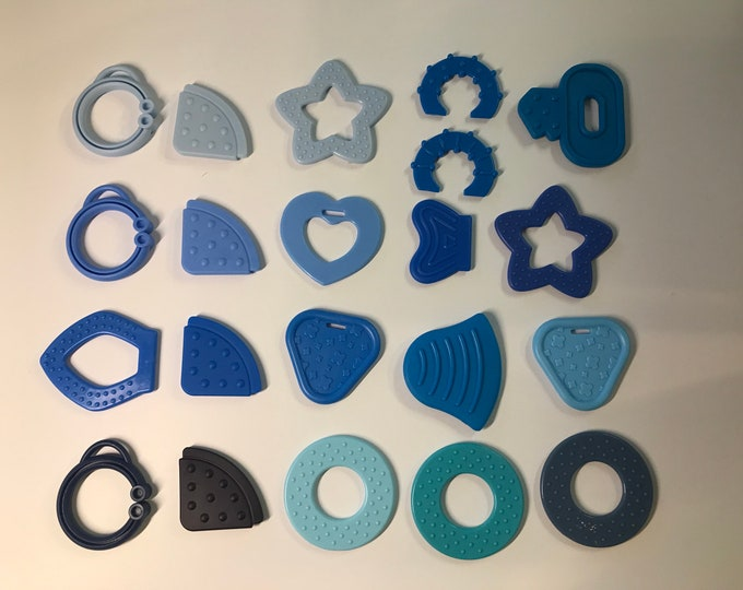 BLUE // Silicone Baby Teething Shapes // Silicone Teething // For Baby // Sensory Toys // Teething Toys // Teething Blankets