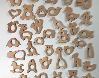 Wooden Shapes // Beech Wood // Wood Animal Shapes // Wooden Teether // Wooden Animal Toys // Wood Baby Shapes // Eco Friendly / Baby Teether