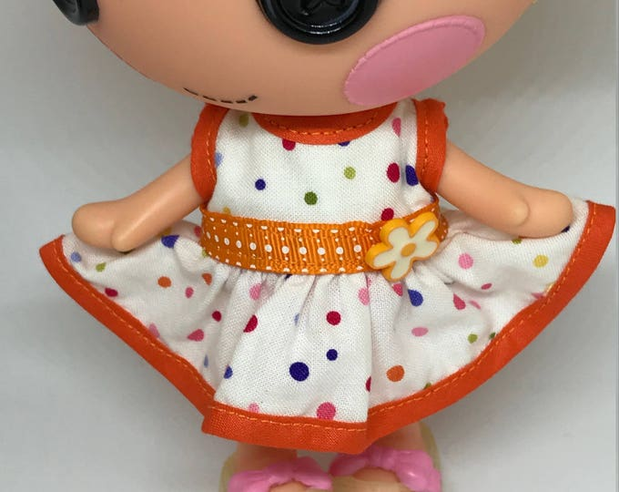 Handmade Dress for Lalaloopsy Little Doll // Little Sister // Doll Clothes // Under 10 // For Girls // Polka Dot