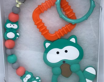 Silicone Pacifier Clip & Toy Gift Set For Baby // TURQUOISE // Shower Gift // Raccoon // Paci Clip // Toy Clip // Stocking Stuffer Under 10