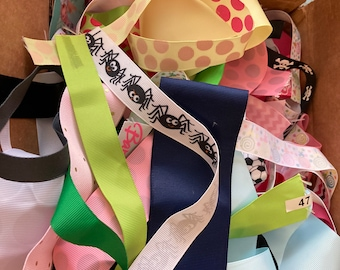 Box of Ribbon Scraps// Over 100 yds// DIY Handmade / Sewing Projects // Crafts // Hairbows