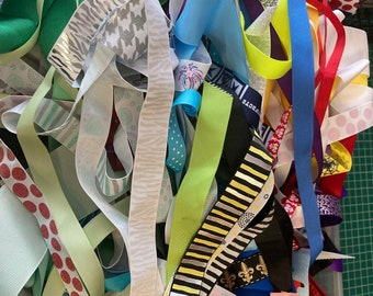12 ounce assorted sized RIBBON LOT for Hair Bows Kids Crafts Bookmarks Card Making Scrapbooking Package Decorations