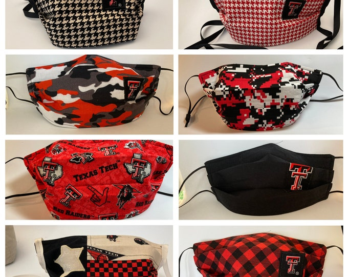 Featured listing image: Fabric Face Mask Texas Tech / Fabric Mask Red Raiders TTU Mask / ReD or bLaCk HoUnDsToOtH /CaMoUfLaGe / BuFFaLo ChEcK / ScAttEr / BlAcKoUt