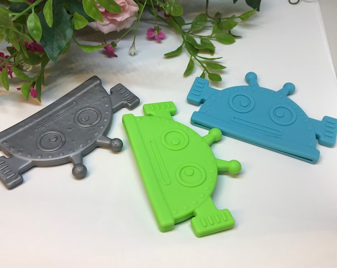 Silicone Robot Corner Teether  // Soft Teething Toy // Toy Making // Handmade // Sew On Teether // Limited Supply