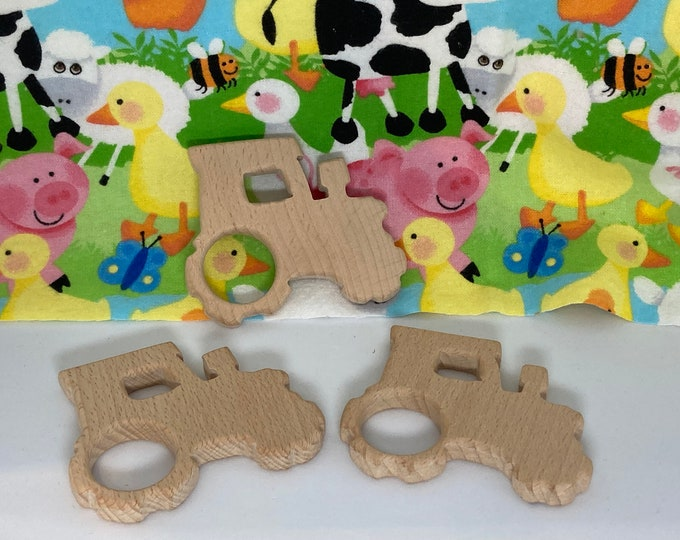 Featured listing image: TRACTOR <8> farm farming Beech Wood Shape // Wood Animal Shapes // Wooden Teether // Wooden Animal Toys // Wood Baby Shapes // Eco Friendly