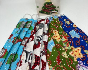 HOLIDAY Christmas Fabric Face Mask // Fabric Face Mask // ReAdY 2 sHiP //  3 Layers / Reversible / Elastic with Cord Stops / Gnomes Cookies