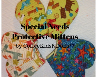Special Needs Mittlet™ Quilted Mittens Pair Gloves Handmade Quilted Gloves Children Adults Biting Chewing Scratching Elderly