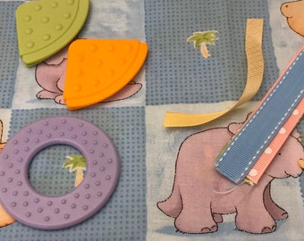 Taggie Blanket Kit // Lovey Tag Blanket // Minky Cuddle Toy // Security Blanket // Easter Basket Gift Idea For Baby Shower // Dino Squares