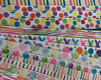 MULTI COLOR GROSGRAIN Ribbon Lot for Crafts Toys Hair Bbow Hobbies Sewing // sizes 5/8 7/8 1 1 1/2 2 inch wide