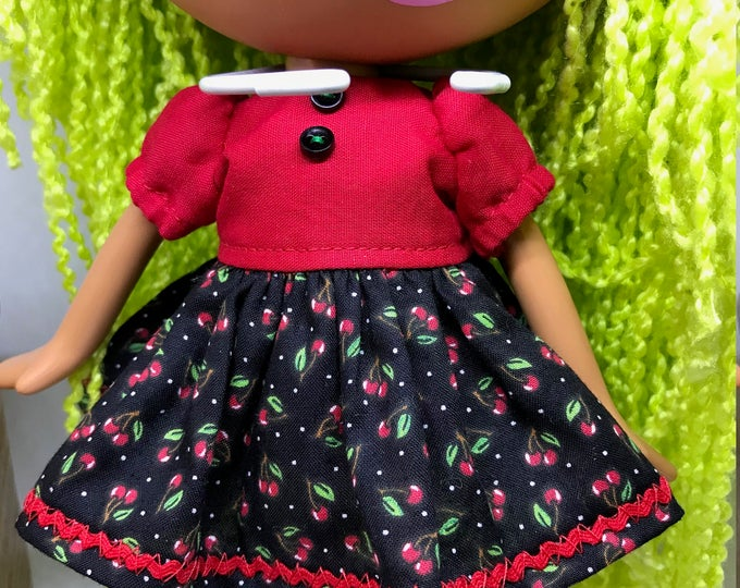 Handmade Dress for Lalaloopsy Doll // Full Size Big Sister // Doll Clothes // Stocking Stuffer // Under 10 // For Girls // Cherries