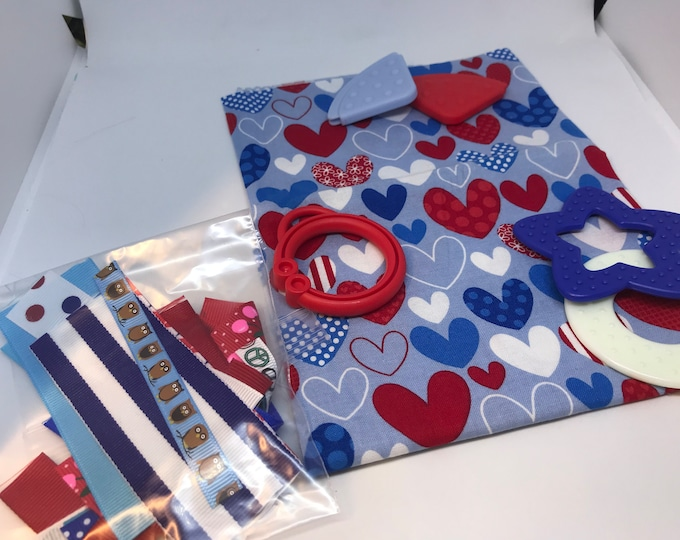 Taggie Blanket Kit // Lovey Tag Blanket // Minky Cuddle Toy // Security Blanket // Handmade // Christmas Baby Gift / Heart
