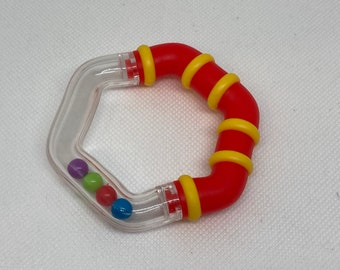 RED RATTLE RING // 3 inch diameter Hexagonal Ring Rattle // Large Ring with plastic cover // Noisemaker // Birthday Party Favor