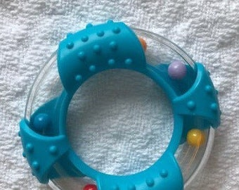 BLUE Round RATTLE RING // 3 inch diameter Clear Ring with Colored Plastic Accent  // 80 mm // Noisemaker // Birthday Party Favor //