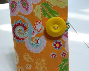 Fabric Covered Pocket Calendar // Refillable 2021 2022 Planner Organizer For Her Under 10 Handmade Gift Idea for Purse Desk / Orange Paisley