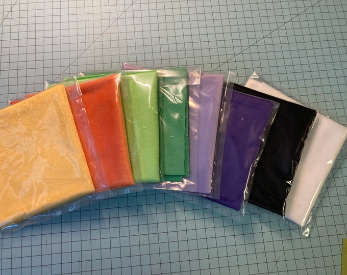 Featured listing image: HALLOWEEN colors Solid Minky Fabric Sampler // 6 inch or 12 inch squares // soft and snuggly // individually packaged  // amiguri crafts diy