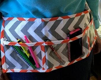 Utility Apron // Teacher Apron // Clear Pocket Apron // Craft Apron //Teacher Gift // Gift Idea // Under 20 // Orange Grey ChEvRoN Gift idea