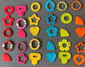 30 Pc BRIGHT COLOR Sampler // Baby Teething Shapes  // Baby Teething DIY Baby Toys // Sensory Toys // Sensory Baby // Handmade Baby Gifts
