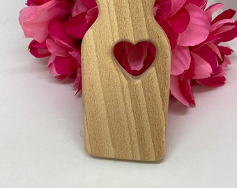 Beech Wood // large MILK BOTTLE <37>  with heart  food Natural Wood Shape // Eco Friendly