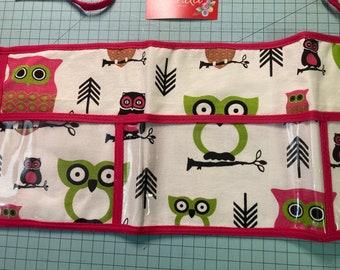 Utility Apron // Pink Hooty Owl Print // Teacher Apron // Clear 3 Pocket Apron // Craft Apron //Teacher Gift // Gift Idea // Under 25
