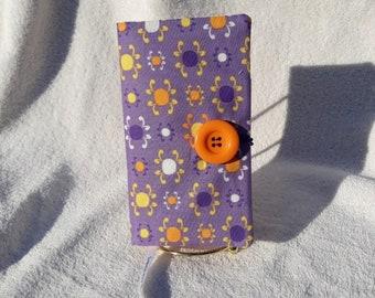 Fabric Covered Pocket Calendar // Refillable 2021 2022 // Planner Organizer For Her Under 10 Handmade Gift Idea for Purse Desk / Purple Dots