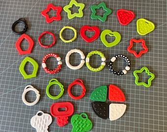 28 Pc Christmas COLOR Sampler // Baby Teething Shapes  // Baby Teething DIY Baby Toys // Sensory Toys // Sensory Baby // Handmade Baby Gifts