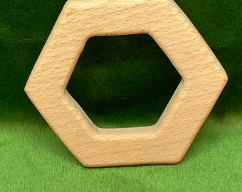 HEXAGON <53> geometric Wood Shape / Wood Animal Shapes / Wooden Teether // Beech Wood Baby Shapes // Eco Friendly