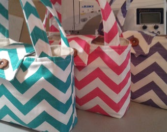 SMALL Tote Bag // Grab and Go // Fabric Purse // Bible Bag // Pet Bag // You Choose the Color // Optional Embroidery
