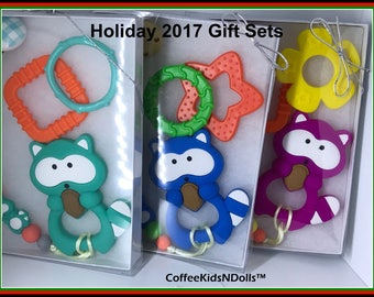 For Baby // Silicone Teether // Pacifier Clip & Toy Gift Set // You Choose // Shower Gift // Raccoon // Paci Clip // Toy Clip