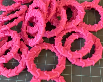 WAVY Baby Ring Wholesale Lot of 25 colors  // Baby Teething Ring // Wavy Rings // Handmade Baby Teething // Stroller Toys Pink