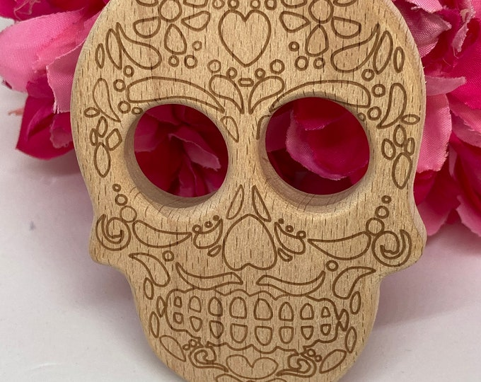 Featured listing image: Beech Wood Baby Toy // SUGAR SKULL < 42> Halloween Day of the Dead Wood Shape // Natural Wood Toy for Baby